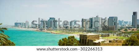 view of the modern Tel Aviv from old city - stock photo