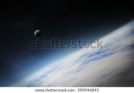 View of the moon close to planet Earth from space during a sunrise 'elements of this image furnished by NASA' - stock photo