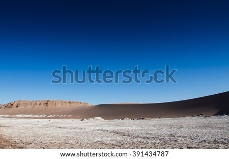 View of the Moon Valley (Valle de la Luna) in Chile - stock photo