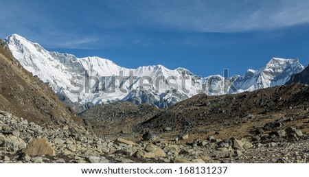 View of the moraine on the background of the Cho Oyu (8201 m) - Gokyo region, Nepal - stock photo