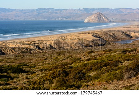 View of the Morro Rock from Montana De Oro State Park  - stock photo