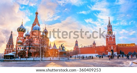 View of the Moscow Kremlin and Cathedral of St. Basil at the Red Square at sunset winter in Moscow, Russia - stock photo