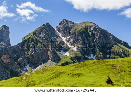 View of the mountain peaks in the Dolomites - stock photo