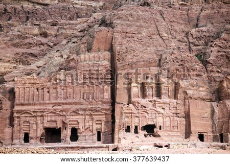 View of the Nabataean city Petra, Jordan - stock photo