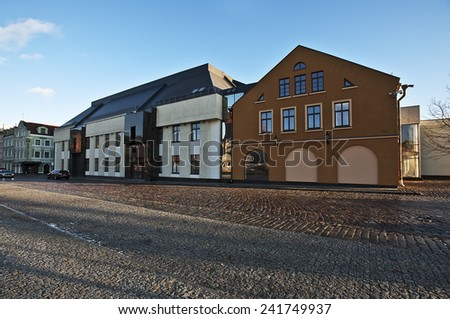 view of the new modern drama theater building - stock photo