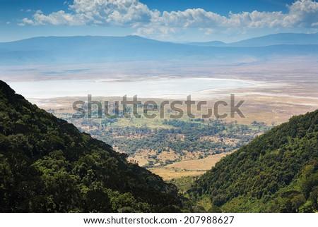 view of the Ngorongoro crater - stock photo