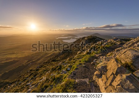 View of the North Atlanic from Diamond Hill in Connemara - stock photo