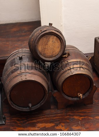 view of the oak barrels of wine - stock photo