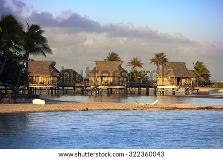 view of the ocean and the house on water  - stock photo