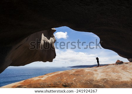 View of the ocean from the Remarkable Rocks in the Flinders Chase National Park on Kangaroo Island, South Australia - stock photo
