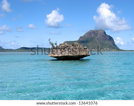 View of the ocean on Mauritius - stock photo