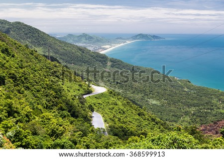 View of the ocean on the way from Hue to Hoi An, Vietnam - stock photo