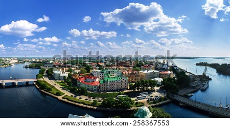 View of the Old City from the observation deck of the Vyborg Castle - stock photo