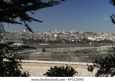 View of the Old City in Jerusalem, Israel from the Sanctuary of Dominus Flevit.  It is here that Jesus wept after looking at the old city and foretelling its future - stock photo