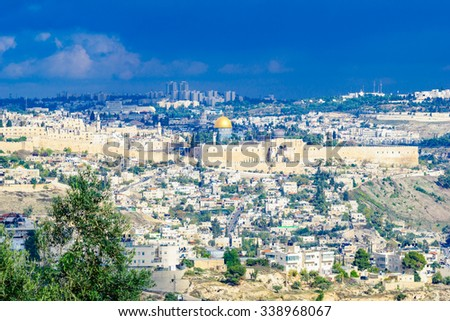 View of the old city of Jerusalem from the south, with the walls, and al-Aqsa mosque. Jerusalem, Israel - stock photo