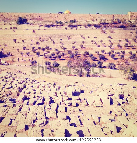 View of the Old City of Jerusalem, Instagram Effect - stock photo