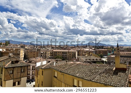 View of the old city of Segovia, Spain, seen from the roman aqueduct - stock photo
