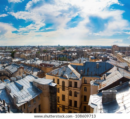 View of the old city under a blue sky on a sunny clear day (St. Petersburg, Russia) - stock photo