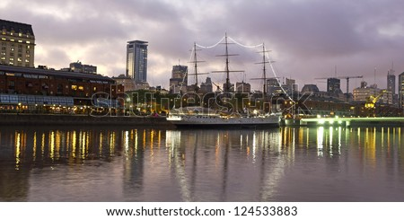 View of the old harbor area, Puerto Madero district, by night, Buenos Aires, Argentina - stock photo