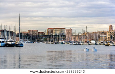 View of the Old Port of Marseille - France - stock photo