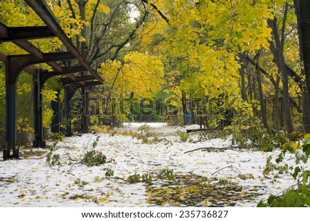 View of the Old Putnam trail where the railroad ran in Van Cortlandt Park, Bronx County New York. - stock photo