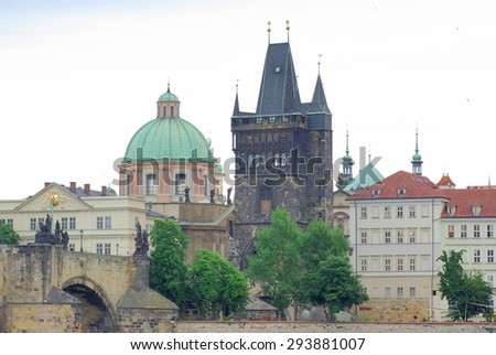 View of the Old Town and Charles Bridge over Vltava river in Prague, Czech Republic - stock photo