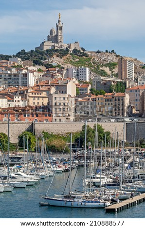 View of the old town and the harbor of Marseille in South France - stock photo