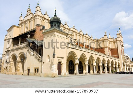 View of the old town of Cracow, old Sukiennice, Poland - stock photo