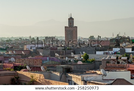 View of the old town of Marrakech in Morocco during early sunrise - stock photo
