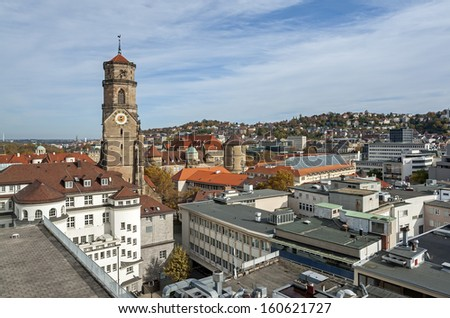 """View of the old town of Stuttgart with the church """"Stiftskirche"""" in Germany - stock photo"""