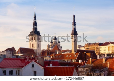 View of the old town. Tallinn, Estonia, Europe  - stock photo