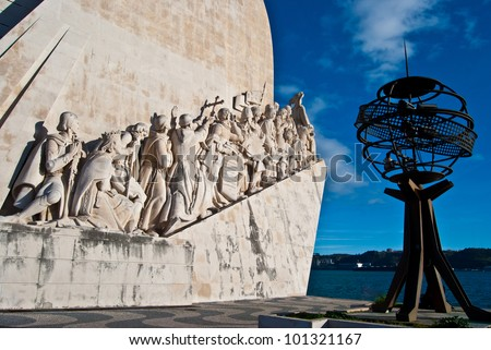 view of the Padrao dos Descobrimentos in Lisbon - stock photo