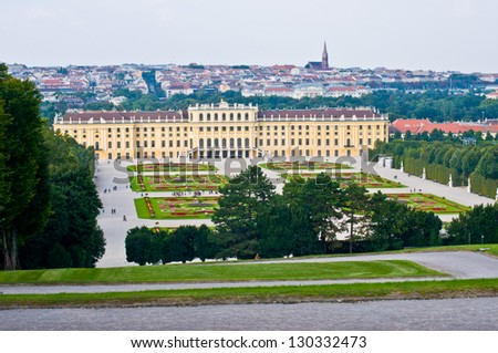 view of the palace Schoenbrunn in Vienna - stock photo
