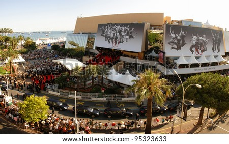 View of the Palais des Festivals showing red carpet arrivals at a screening at the 60th Annual International Film Festival de Cannes.  May 18, 2007  Cannes, France.  2007 Paul Smith / Featureflash - stock photo