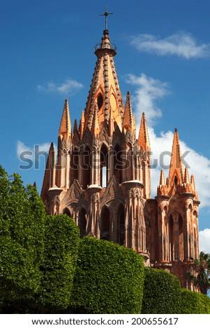 View of the parish church of San Miguel, Guanajuato, Mexico. - stock photo