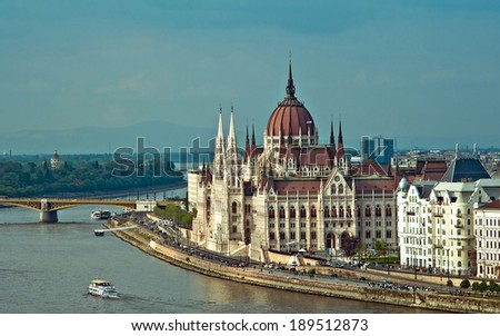 View of the Parliament in Budapest - stock photo