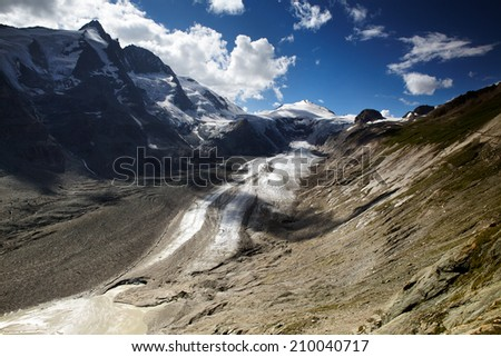 View of the Pasterze Glacier in the Austrian Alps at the Grossglockner - stock photo