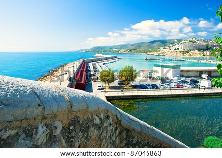 View of the Peniscola port in Valencia, Spain - stock photo