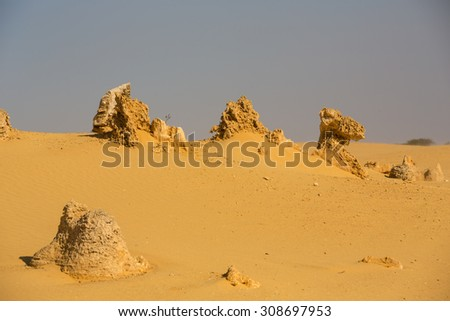 View of the Pinnacle Desert near Cervantes, Australia. - stock photo