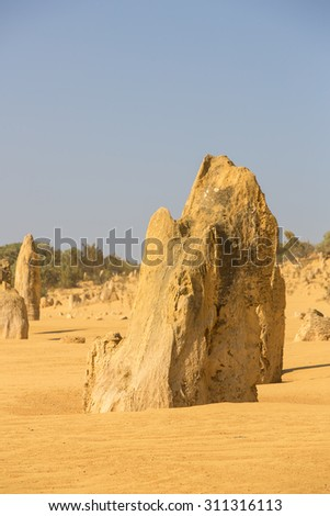 View of the Pinnacle Desert near Perth, Australia. - stock photo
