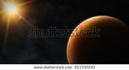 View of the planet Mars from space during a sunrise '3D rendering' 'elements of this image furnished by NASA' - stock photo