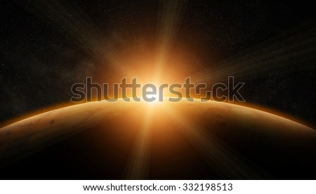 View of the planet Mars from space during a sunrise 'elements of this image furnished by NASA' - stock photo