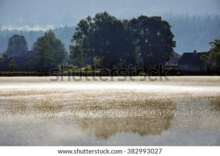 View of the pond in the early morning at the sunrise time, Highland, Moravia, Czech Republic - stock photo