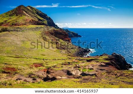 view of the Ponta de Sao Lourenco, the eastern part of Madeira, Portugal - stock photo