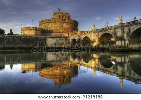 View of the Ponte Sant'Angelo e Castel Sant'Angelo, Rome, Italy - stock photo