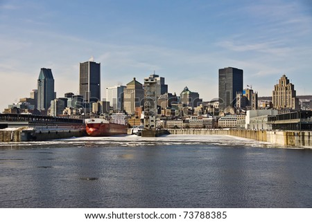 View of the Port of Montreal and office buildings in the background - stock photo