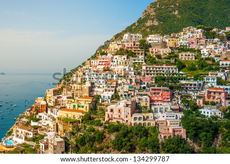 View of the Positano city at sunrise on Amalfi Coast, Italy - stock photo