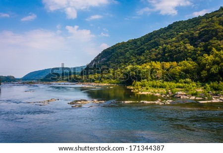 View of the Potomac River, from Harper's Ferry, West Virginia. - stock photo