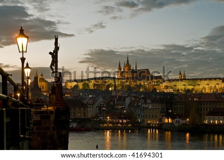 View of the Prague castle at dusk - stock photo