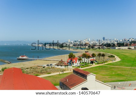View of the Presidio of San Francisco and Marina with the Skyline in Background - stock photo